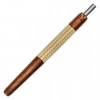 Wookah Holzmundstück Teak mit Leder Beige, 28 cm