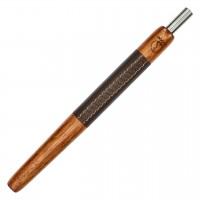 Wookah Holzmundstück Merbau mit Leder Braun, 28 cm