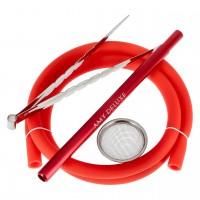 Amy Alu Zulu S Klick Shisha, Red RS Silver, 51 cm hoch