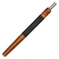 Wookah Holzmundstück Teak mit Leder Schwarz, 28 cm