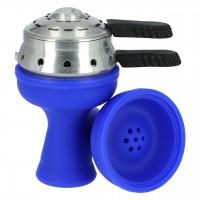 Silikontabakkopf Mehrloch in Blau mit Heat Box, Amy-Deluxe