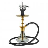 Aladin MVP 360 Edelstahl Shisha Gold, Black with Gold Ring, 35 cm hoch