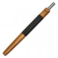 Wookah Holzmundstück Iroko mit Leder Schwarz, 28 cm