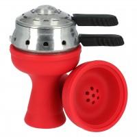Silikontabakkopf Mehrloch in Rot mit Heat Box, Amy-Deluxe